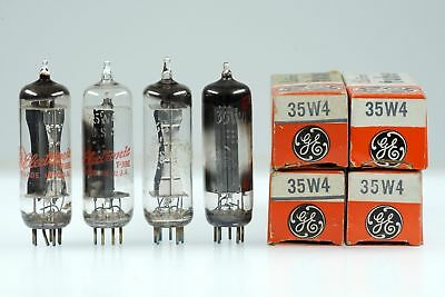 4 Vintage General Electric GE 35W4 / HY90 Half Wave Rectifier Mini 7 Pin Tube Va