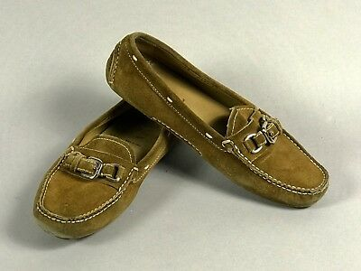 eb7695aab74 PRADA Brown Suede Silver Buckle Women s Loafer Flat Driver Shoes Italy Size  38