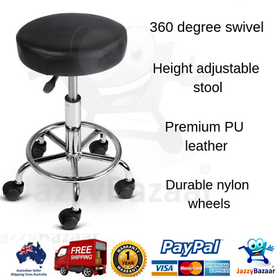 Round PU Leather Swivel Salon Stool Black Height Adjustable Seat Hairdressing
