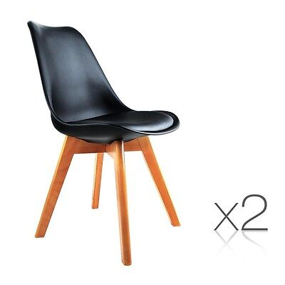 NEW 2x Eames Inspired PU Leather Seat Home Office Cafés Dining Chair - Black