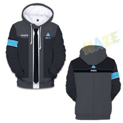 Game Detroit Become Human Connor RK800 villus Hoodie Sweatshirt Baseball Costume