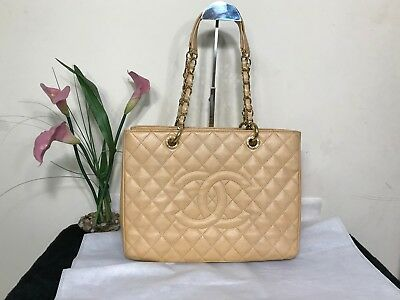 90a293f39f73 100%AUTHENTIC CHANEL GST Beige Caviar Leather Gold Hardware #2 ...