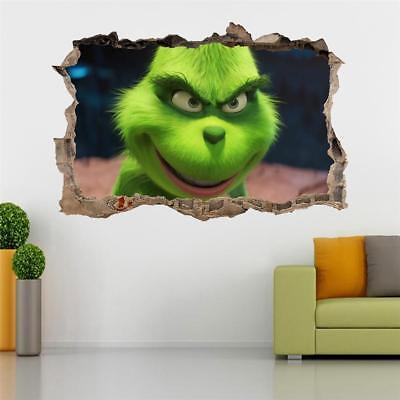 The Grinch 2018 Decal 3D Smashed Wall Sticker Mural Christmas movie J1360