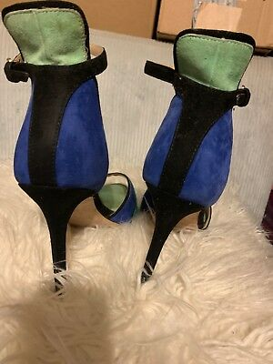 a6715096cb0 Zara color block green and blue Open Toe Ankle Strap heel shoe size 9