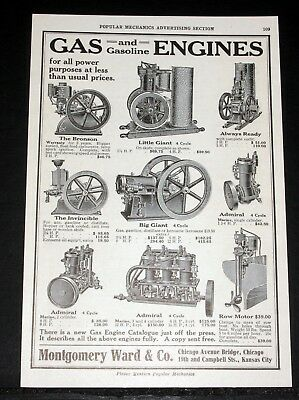 1910 Old Magazine Print Ad, Montgomery Ward Co, Gas And Gasoline Engines, Power!