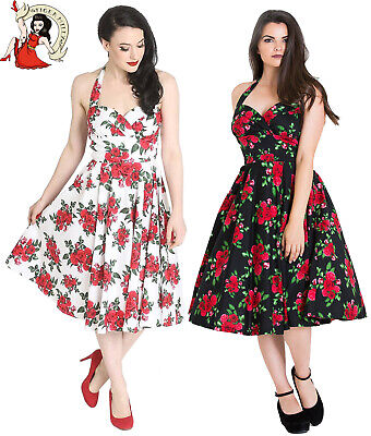 HELL BUNNY CANNES 50s DRESS vintage style ROSE floral rockabilly WHITE BLACK