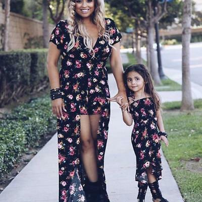 Family Dress Mother and Daughter Matching Floral Women Girl Long Maxi Dress 2019