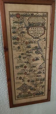 Antique Pratts High Test Map of the Great North Road Framed