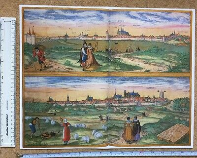 Old Antique Map Orleans, Bourges, France: 1575 Braun & Hogenberg REPRINT 1500's