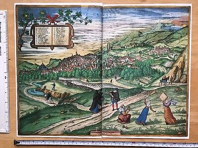 Old Antique Map of Granada, Spain: 1563 Braun & Hogenberg REPRINT 1500's Tudor