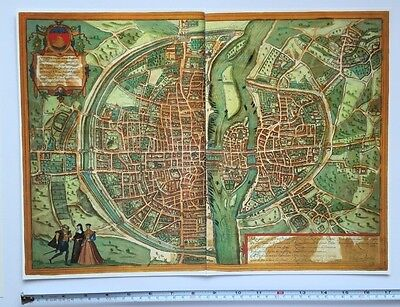 Old Historic Antique Map Paris, France: 1572 by Braun & Hogenberg REPRINT 1500's