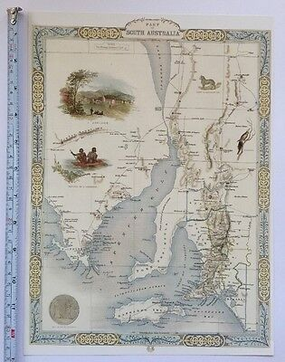 Antique vintage map 1800s: South Australia: John Tallis 13 X 9 Reprint 1851c