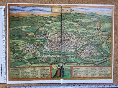 Old Antique Historic Map Rome, Italy: 1572 by Braun & Hogenberg REPRINT 1500's