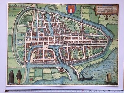 Old Historic Antique Map Rotterdam, Holland 1588 Braun & Hogenberg REPRINT 1500s