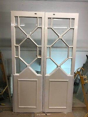 PAIR RARE ART DECO DOORS ANTIQUE PERIOD OLD RECLAIMED WOOD PINE 20s 30s BEVELLED