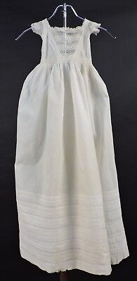 Heirloom Antique Mid 19Th C Hand Sewn Christening Dress Gown W Hand Embroidery
