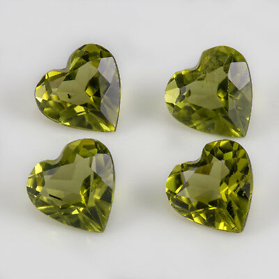 1.82tcw 4 x Peridot. Well cut, heart shape gemstones with great Peridot colour.