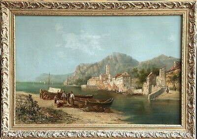William Dommersen (1850-1927) Large Signed Oil Figures Beach - Anzio Italy