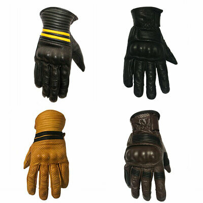 Mens Leather Gloves With Carbon Fiber Knuckles Motorbike Quad Sports Off Road