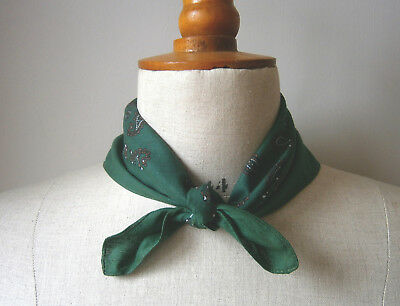 VINTAGE 1950s 60s MENS GREEN WHITE & BROWN BANDANA SCARF NECKERCHIEF REENACTMENT