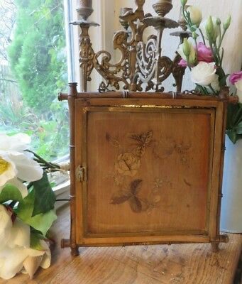 Delightful Antique French Tri Fold Boudoir Mirror ~ Marquetry Florals C.1900