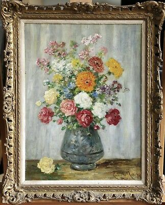 CAMILLE MATISSE (c.1860-1920) SIGNED FRENCH IMPRESSIONIST OIL - FLOWERS IN VASE