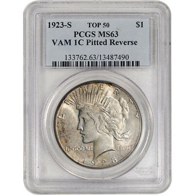 1923-S US Peace Silver Dollar $1 - PCGS MS63 VAM 1C Pitted Reverse Top 50