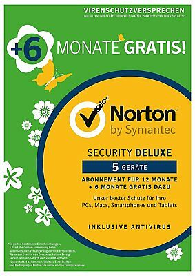 NORTON SECURITY Deluxe 2019 5 Geräte 18 Monate 5 PC/Mac 2018 DE Internet