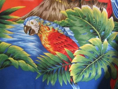 59abde48e XXL Vintage Hawaiian Shirt Blue Macaw Parrots Palms Royal Creations Made in  USA