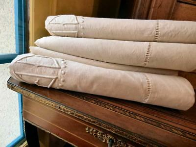 """a pair of Antique French linen cotton mix sheets  JD 82/112"""" big """"JOURS"""""""