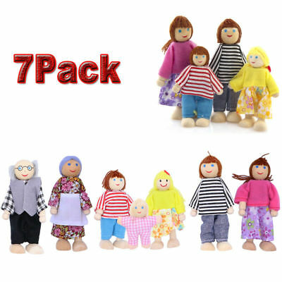 Wooden Furniture Dolls House Family Miniature 7 People Doll Toy Kid Child Gifts