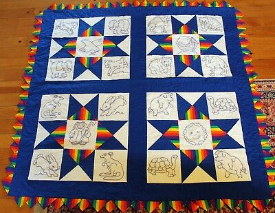 Handmade embroidered baby quilt Noah's Ark Primary Colors