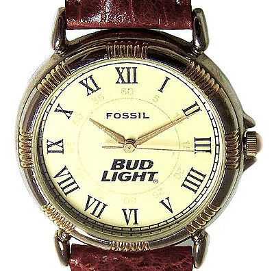 Bud Light Beer Logo Fossil Made, Unworn, Easy Read, Brown Leather Band Watch $79
