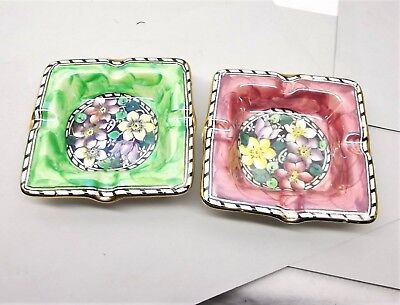 Vtg Maling Lusterware Ashtray Pair Art Deco Floral Stoneware England Clematis