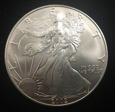 2002 1 oz AMERICAN SILVER EAGLE ~ BRILLIANT UNCIRCULATED ~ ASE ~ Free Shipping