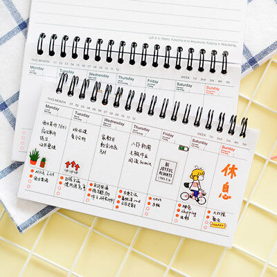 Cartoon Weekly Plan Schedule Office Memo Spiral Coil Notebook Sketchbook Journal
