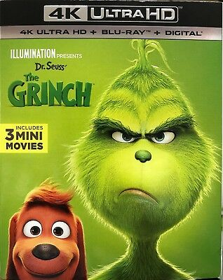 The Grinch , 4K Ultra + Blu-ray + Digital , NEW SEALED With Slip-cover