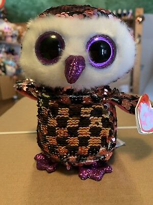 """cfdd1936b TY FLIPPABLES: CHECKS -Shiny Pink/Black/Silver Sequined Owl 6"""" Beanie Boo  *RARE*"""