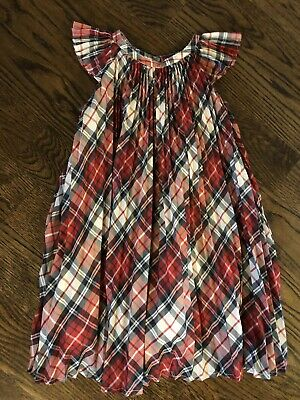 a1fdaa44bfc EUC Baby Gap 4T Girls Red White Plaid Flutter Sleeve Pleated Dress Holiday