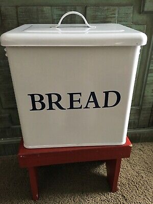 Farmhouse Vintage Style Used  Large Metal White Bread Box /Bin With Blue Letters