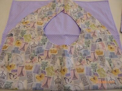 Adult Bibs / cover-ups for adults, seniors, disabled; POSTAGE STAMPS IN PINK/LAV