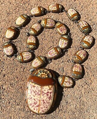 """1920's Egyptian Revival SCARAB BEETLE Sterling Silver Molded Glass Necklace 18"""""""