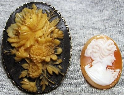 2 Antique or Vintage Items Flower Pin  Glass Cameo Lady ---- L@@K ----