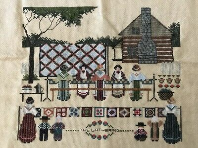 Completed Cross Stitch Told in a Garden Gathering Embroidery Sampler AS IS