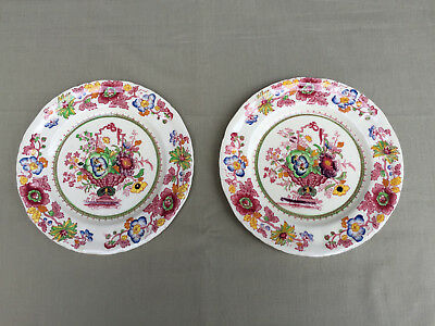 Pair English MASON'S Ironstone China SIDE PLATES Strathmore Pink 1930's