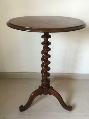 Antique Mahogany Barley Twist Wine Or Side Table With Tripod Feet