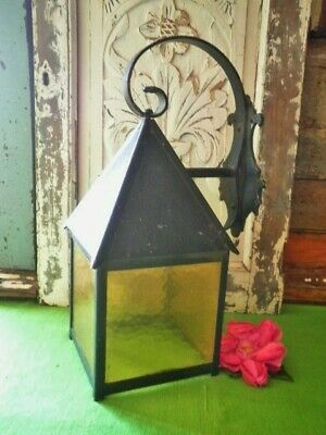 Vintage Porch Light Lamp Cast Iron Coloured Glass Shade Entrance Outside Lamp