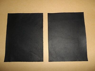 2 x Black Cowhide Leather Offcut Scrap Craft Panel Piece - 16CM X 21CM
