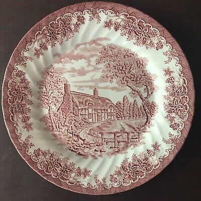 """Churchill """"the Brook"""" chelsea pink red dinner plate England Staffordshire"""