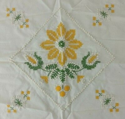 Floral Crewel Finished Pillow Yellow Green White Wall Decor Paragon Embroidery